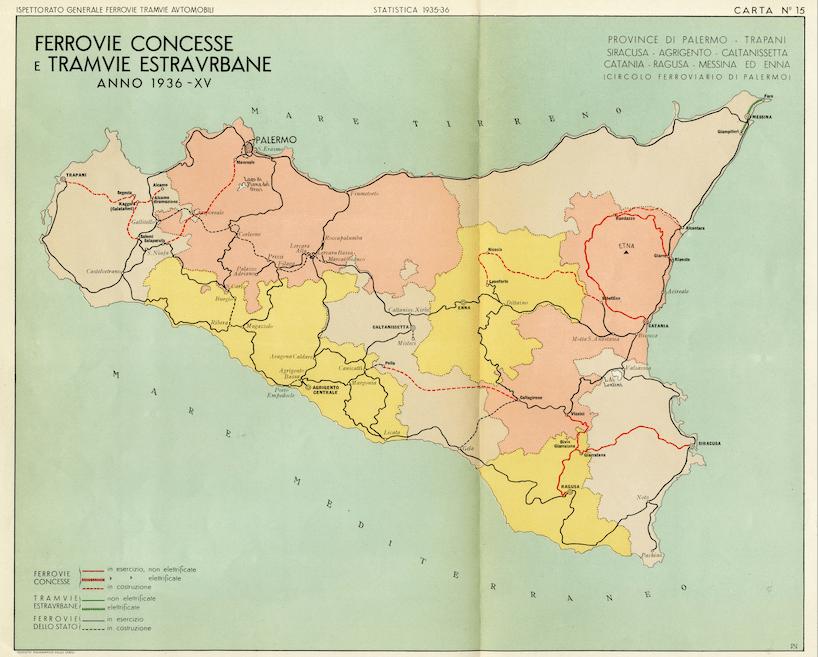 mappa ferrovie sicilia 1936